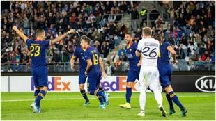 Spinazzola celebra el gol logrado contra el Wolfsberger.