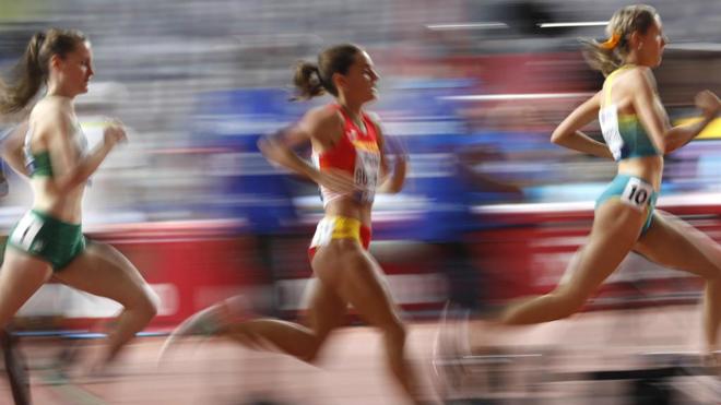 Esther Guerrero en su serie de 1.500 del Mundial de Doha.