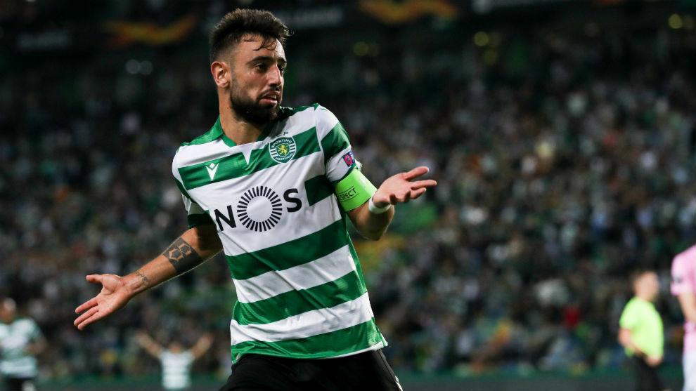Bruno Fernandes (25) celebra su gol.