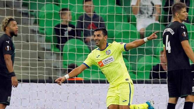 Ángel celebra uno de los dos goles que marcó ante el Krasnodar.