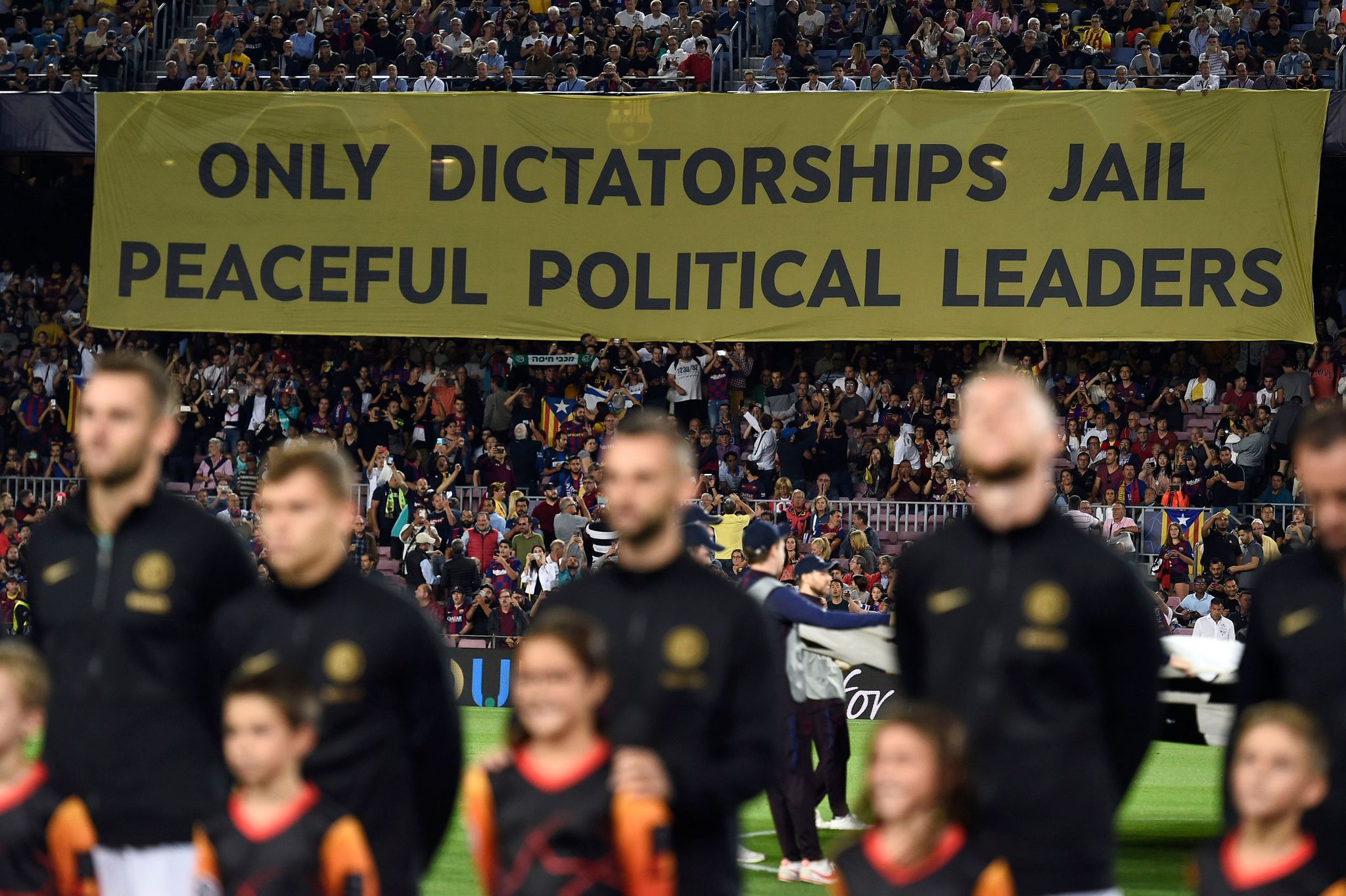 Controversial banner at the Camp Nou during Barcelona's clash with...