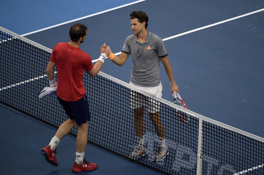 Murray y Thiem se saludan en la red a la conclusión de su partido