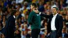 Valverde da instrucdiones durante el partido contra el Inter.