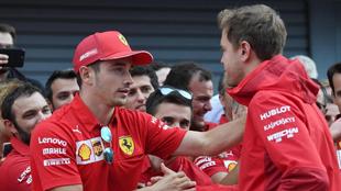 Leclerc y Vettel durante el pasado GP de Italia.