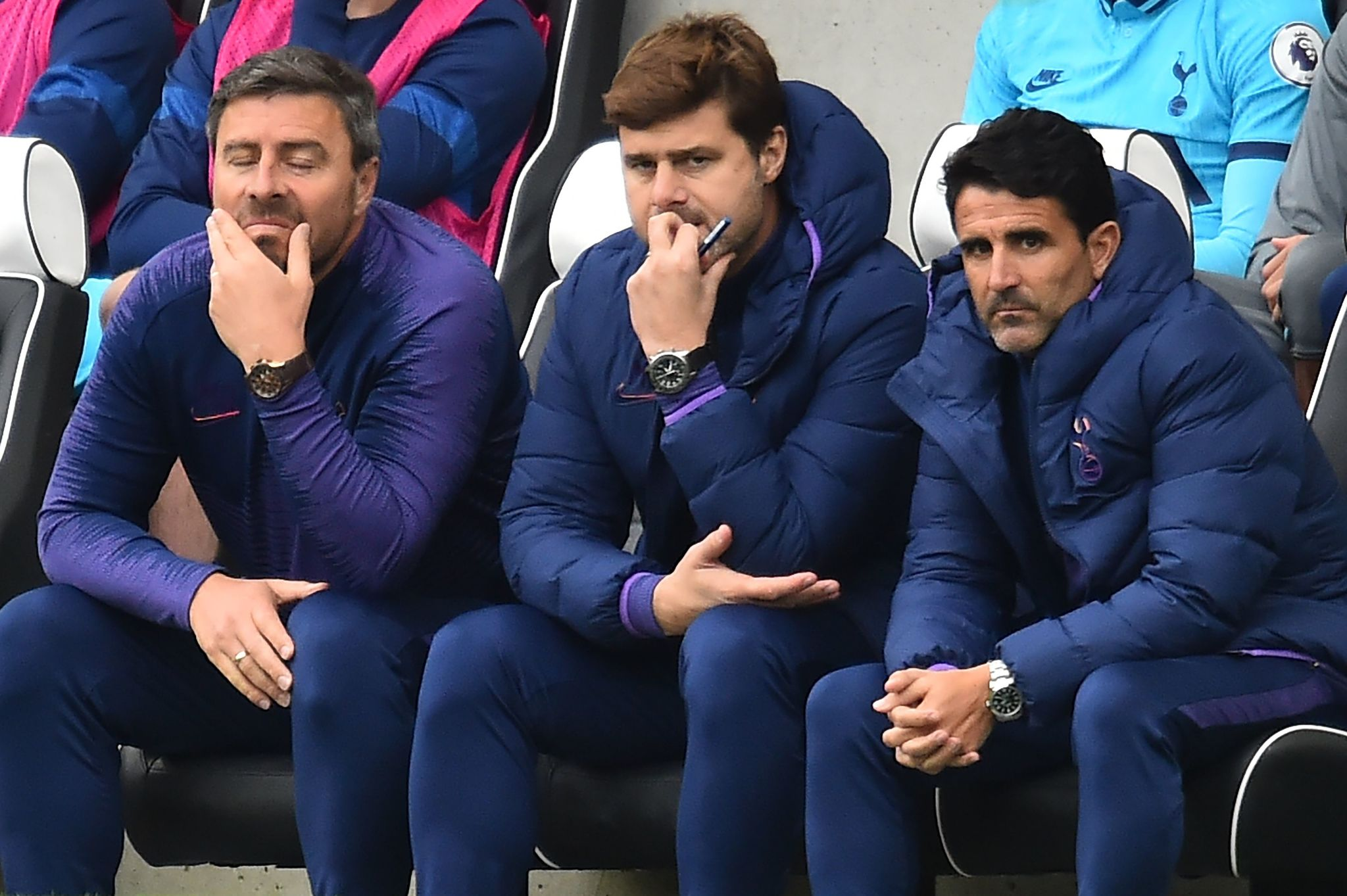 <HIT>Tottenham</HIT> Hotspurs Argentinian head coach Mauricio Pochettino (C) looks on during the English Premier League football match between Brighton and <HIT>Tottenham</HIT> Hotspur at the American Express Community Stadium in Brighton, southern England on October 5, 2019. (Photo by Glyn KIRK / AFP) / RESTRICTED TO EDITORIAL USE. No use with unauthorized audio, video, data, fixture lists, club/league logos or live services. Online in-match use limited to 120 images. An additional 40 images may be used in extra time. No video emulation. Social media in-match use limited to 120 images. An additional 40 images may be used in extra time. No use in betting publications, games or single club/league/player publications. /