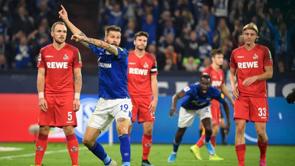 Burgstaller, del Schalke, en el choque de este sábado.