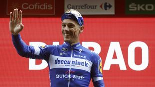 Philippe Gilbert celebra una victoria de etapa en La Vuelta a España.