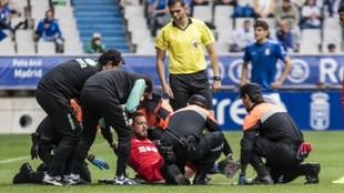 Héctor Hernández tras romperse la mandíbula