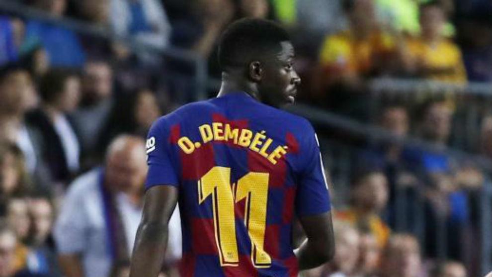 Dembélé, en el momento en el que se marcha expulsado.
