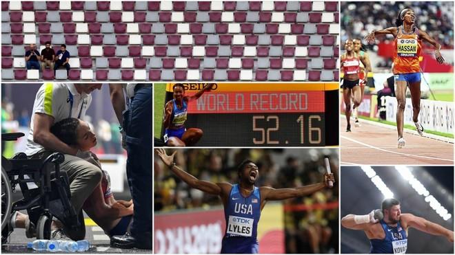 Las gradas vacías del Khalifa Stadium, una atleta atendida en...