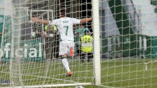 Nino celebra su gol al Rayo