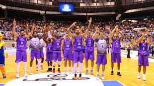 Los jugadores del San Pablo Burgos celebran el pase a la Champions...