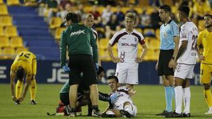 Manu Fuster, tras caer lesionado en Santo Domingo