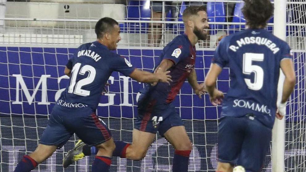 Pulido celebra su gol de la pasada jornada.