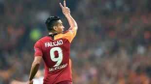 Falcao, en un partido con el Galatasaray.