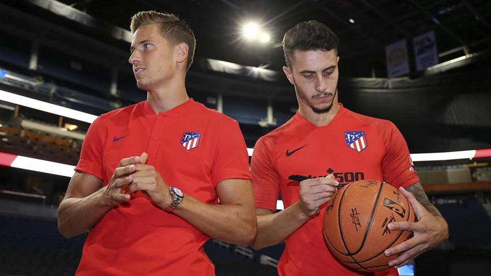 Marcos Llorente and Mario Hermoso during Atletico Madrid's tour of the...