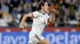 Aitana Bonmatí celebra un gol en Riazor.