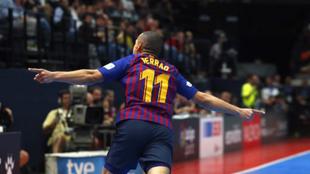 Ferrao celebra un tanto con el Barça el curso pasado.
