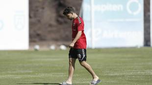 Samuel Shashoua, durante el entrenamiento de este miércoles en...