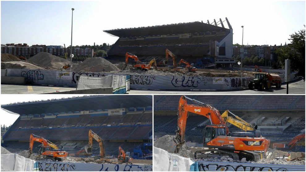 The destruction of the Estadio Vicente Calderon is nearing its final...