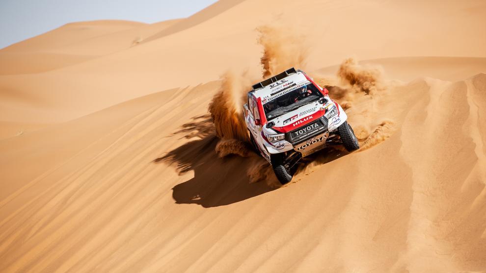 Fernando Alonso y Marc Coma, en el Rally de Marruecos.
