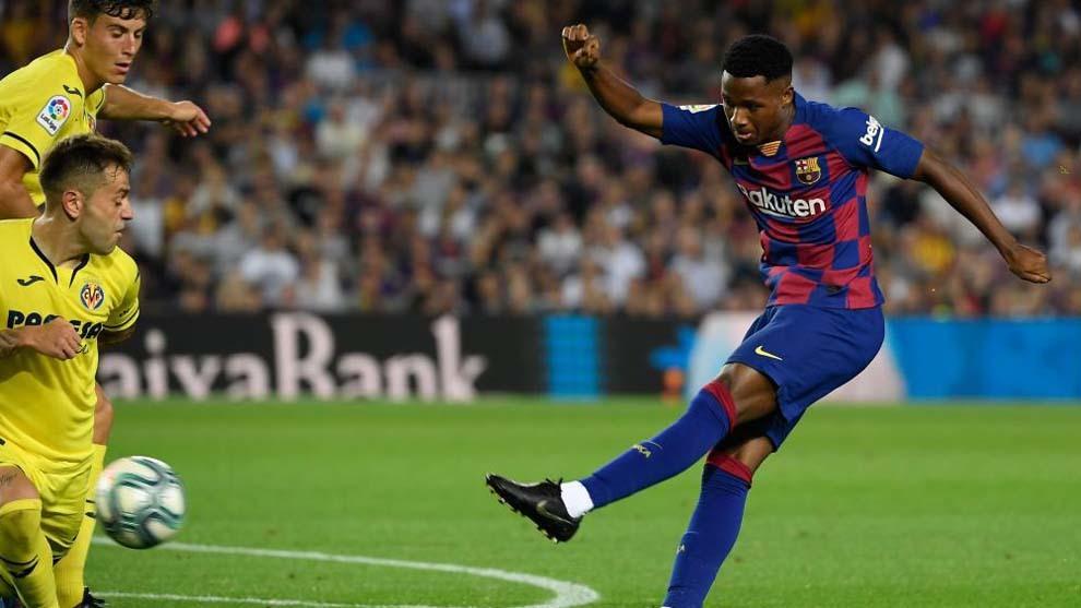 Ansu Fati durante el partido ante el Villarreal