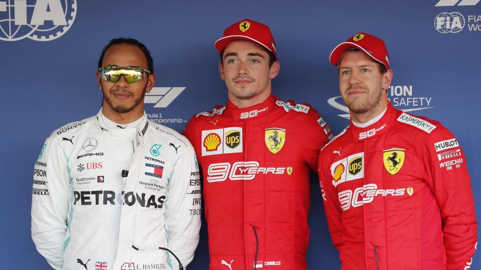 Lewis Hamilton, Charles Leclerc y Sebastian Vettel.