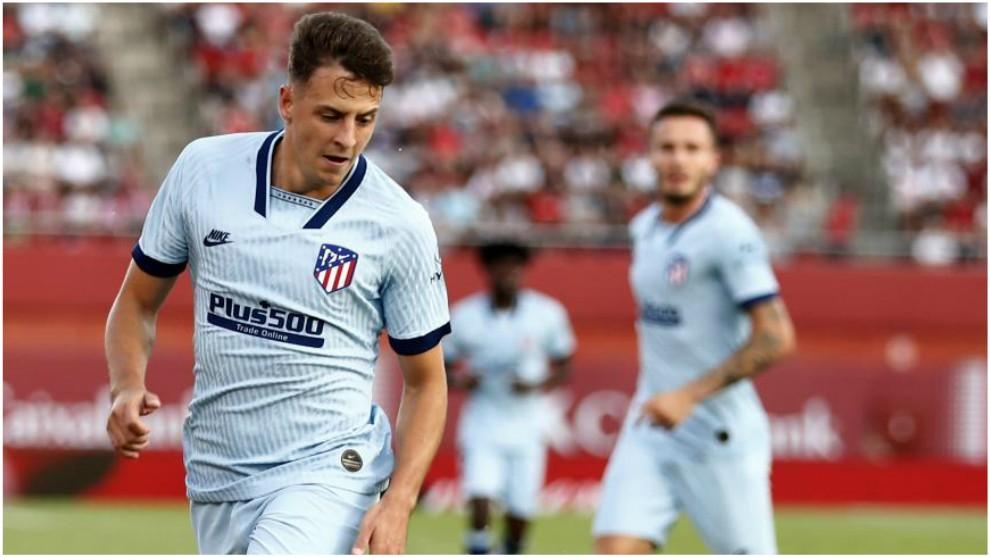 Arias durante un partido del Atlético