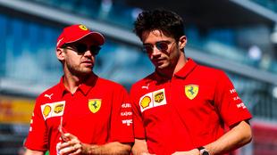 Sebastian Vettel y Charles Leclerc.