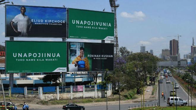 Kipchoge, en las vallas publicitarias de Nairobi
