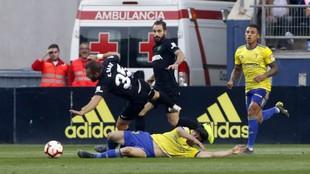 Lance del partido Cádiz-Málaga de la pasada temporada