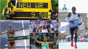 Bolt, Kipchoge, Powell, Radcliffe y Bekele.