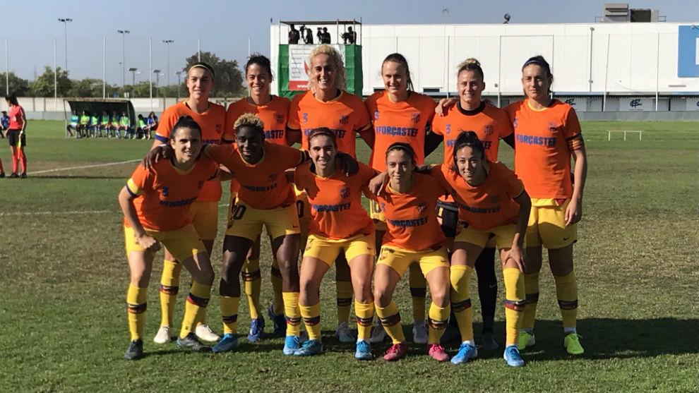 Once inicial del Barcelona en Huelva.