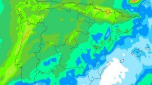Mapa de precipitaciones la madrugada del martes