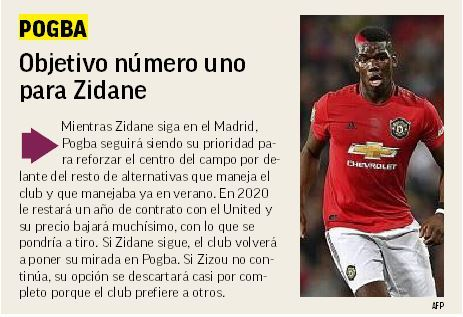 While Zidane is still at Real Madrid, Pogba will be his priority to...