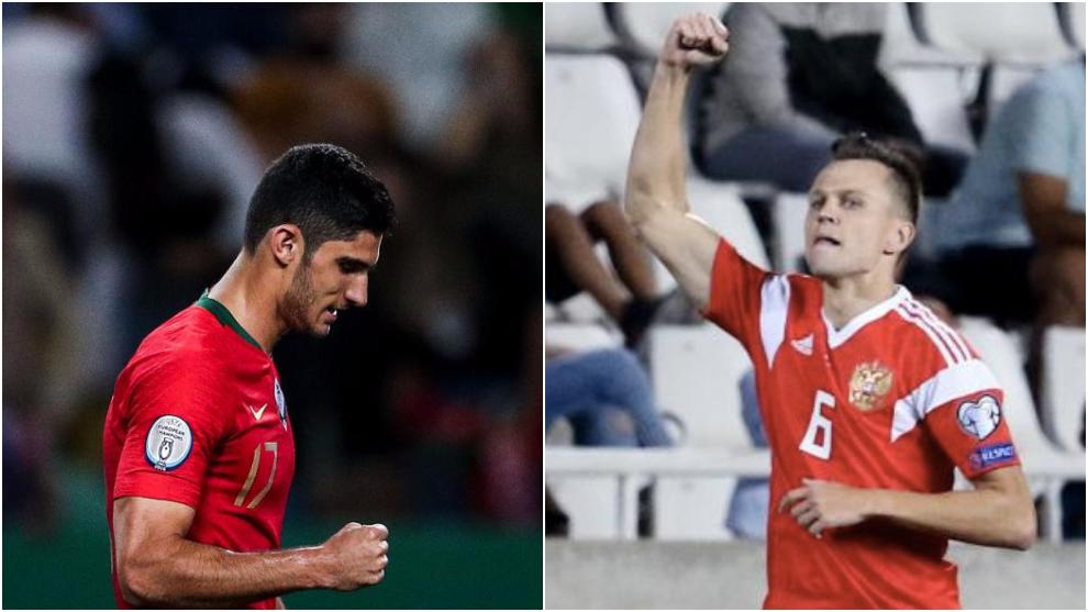 Guedes celebra su gol ante Luxamburgo y Cheryshev uno de sus tantos a Chipre.