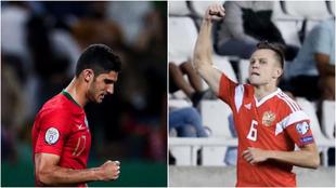 Guedes celebra su gol ante Luxamburgo y Cheryshev uno de sus tantos a...
