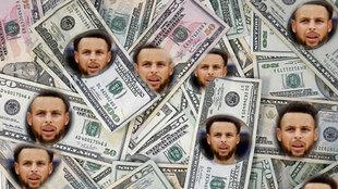 Montaje con la cara de Curry en los billetes de dolar