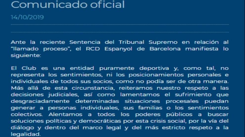 Comunicado del Espanyol