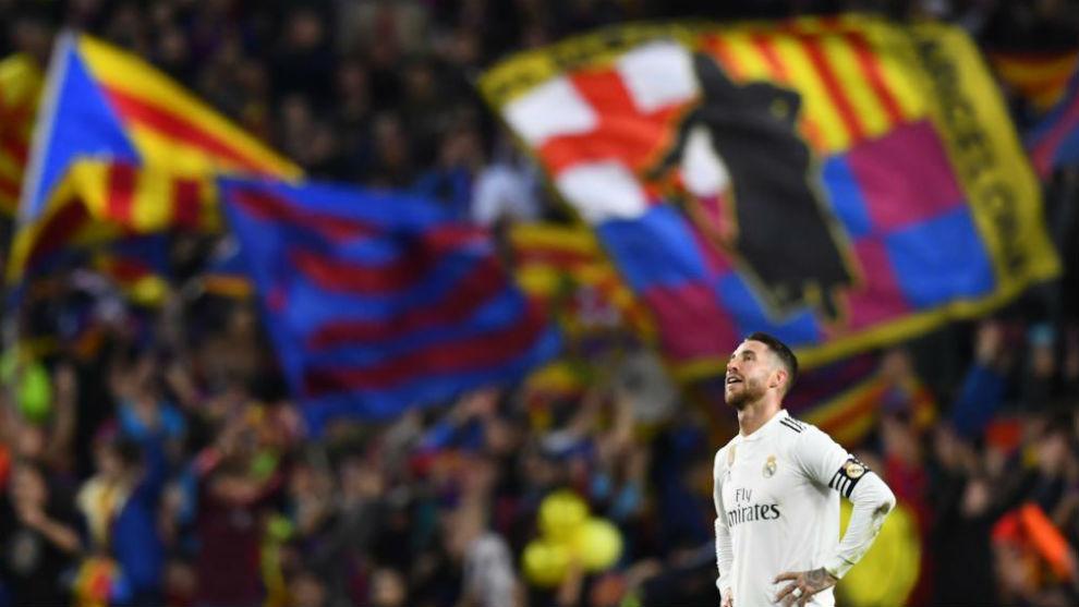 Sergio Ramos, en un Clásico en el Camp Nou