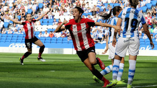 Nekane Díez celebra un gol en el Reale Arena.