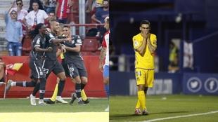 Imágenes del partido con victoria en Gijón y de la derrota en casa...