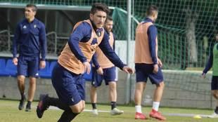 Alfonso Espino, durare un entrenamiento del Cádiz en la Ciudad...