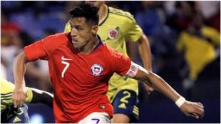Alexis Sánchez, en el amistoso contra Colombia.