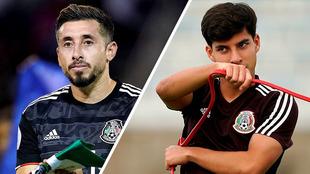 Héctor Herrera y Diego Lainez con la selección mexicana