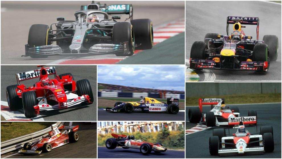 Hamilton, Vettel, Schumacher, Mansell, Lauda, Chapman, Prost y Senna.