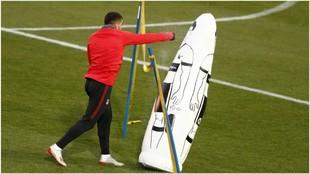 Correa durante el entrenamiento de esta tarde en el Cerro