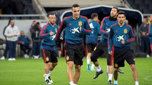 Rodrigo, en el entrenamiento de la selección.