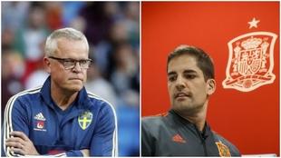 Andersson, seleccionador sueco y Robert Moreno, seleccionador...