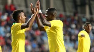 Vinícius y Rodrygo celebran un gol a Chile con la sub 20 de Brasil.